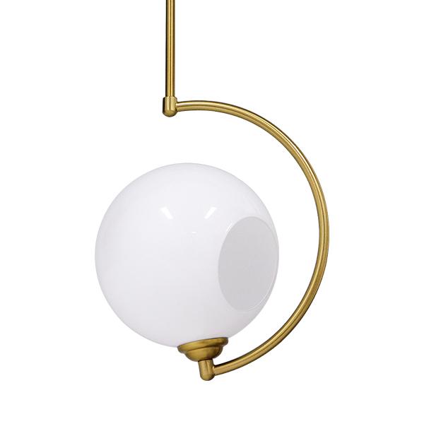Μοντέρνο Φωτιστικό κρεμαστό Οροφής Μονόφωτο Λευκό Glossy με Χρυσό Βραχίονα Μεταλλικό 110cm.