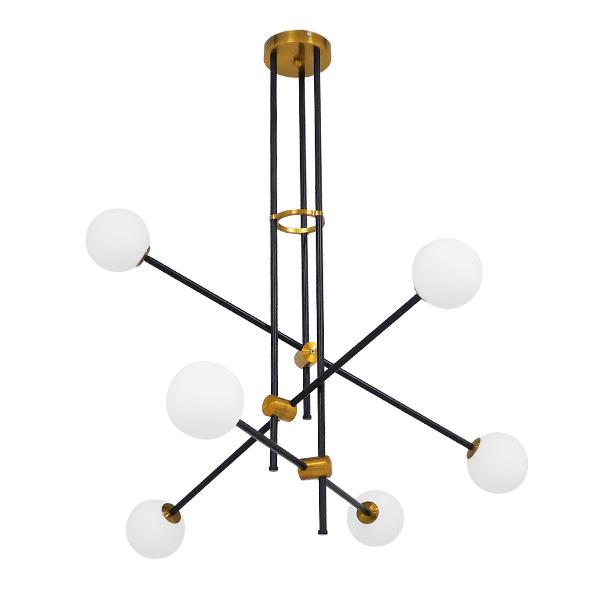 Μοντέρνο Φωτιστικό Industrial Οροφής Πολύφωτο Μαύρο Χρυσό Μεταλλικό με χρυσές λεπτομέρειες