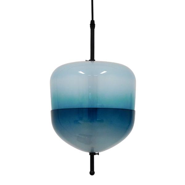 Μοντέρνο Φωτιστικό Κρεμαστό Οροφής Μονόφωτο Γυάλινο Τιρκουάζ Διάφανο TEARDROP περασμένο με ηλεκτροστατική βαφή.