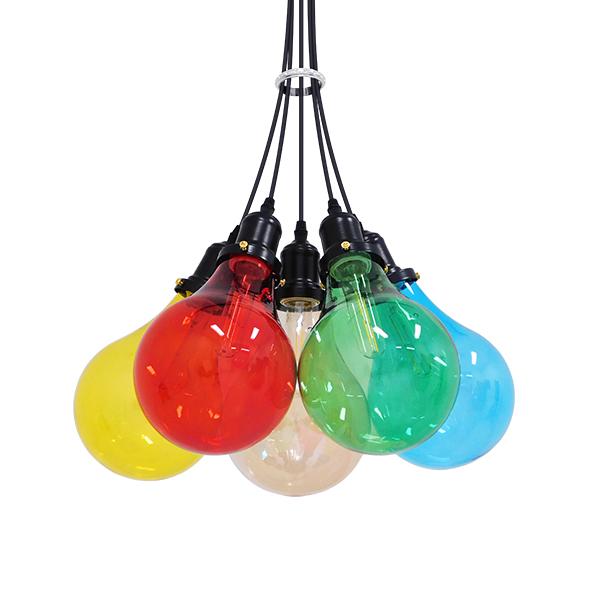Μοντέρνο Φωτιστικό Κρεμαστό Οροφής Πολύφωτο Πολύχρωμο PARTY με πολύχρωμους γλόμπους περασμένο με ηλεκτροστατική βαφή