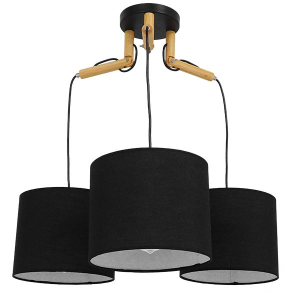 Μοντέρνο Φωτιστικό Κρεμαστό Οροφής Τρίφωτο Μαύρο με Ξύλινες λεπτομέρειες και Υφασμάτινα Καπελα, περασμένο με ηλεκτροστατική βαφή