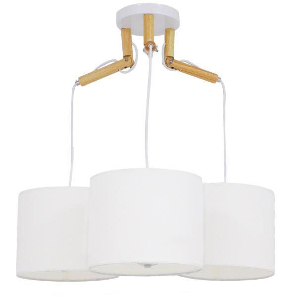 Μοντέρνο Φωτιστικό Κρεμαστό Οροφής Τρίφωτο Λευκό με Ξύλινες λεπτομέρειες και Υφασμάτινα Καπελα, περασμένο με ηλεκτροστατική βαφή