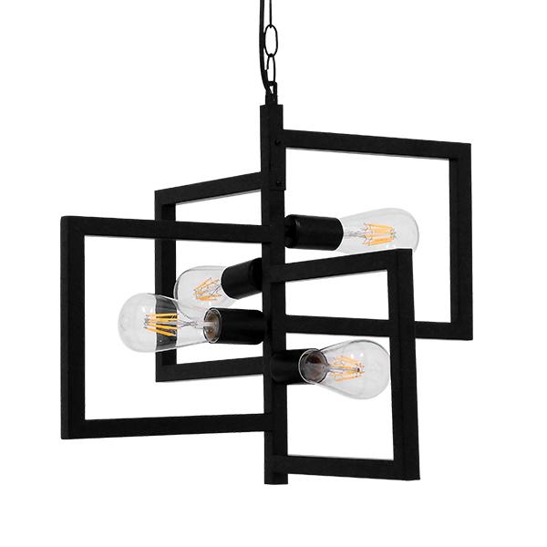 Μοντέρνο Φωτιστικό Industrial Κρεμαστό Πολύφωτο Οροφής Μαύρο Μεταλλικό