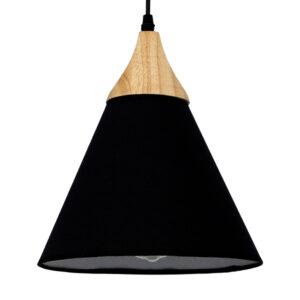 Μοντέρνο φωτιστικό μονόφωτο σε σχήμα καμπάνας με μαυρό υφασμάτινο καπέλο και ξύλινη λεπτομέρια SHADE TEXTILE