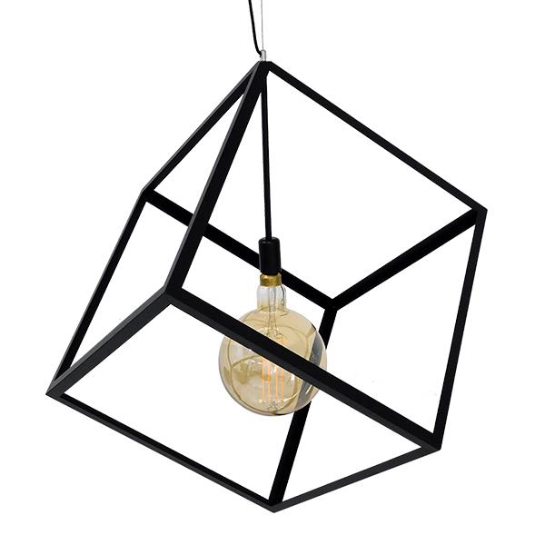 Μοντέρνο Φωτιστικό Κρεμαστό Οροφής Μονόφωτο με Μαύρο Μεταλλικό Πλέγμα CUBE