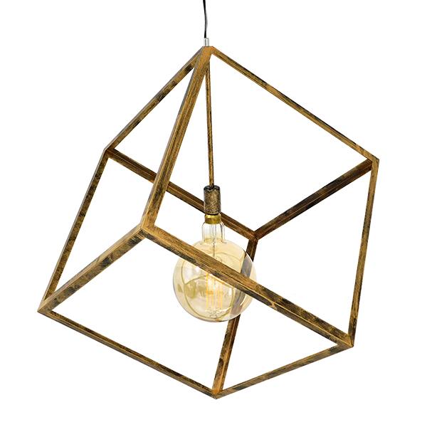 Μοντέρνο Φωτιστικό Κρεμαστό Οροφής Μονόφωτο με Χρυσό Σκουριά Μεταλλικό Πλέγμα CUBE, περασμένο με ηλεκτροστατική βαφή