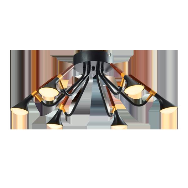 Led κρεμαστό πολύφωτο, θερμό λευκό χρώμα φωτός, 30W, 2100lm. Σώμα φωτιστικού μαύρο αλουμινίου, χρυσές και ξύλινες λεπτομέριες με 6 πηγές φωτός, λευκό ακριλικό διαχύτη φωτός και άψογο φινίρισμα.