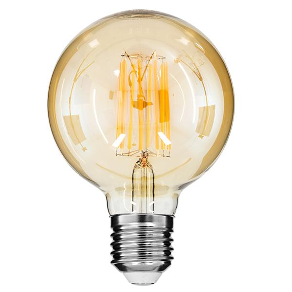Λάμπα Led Filament G95 GLOBE με Μελί Γυαλί, E27, 12W, 1260lm, Ultra Θερμό, Dimmable