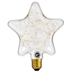 Λάμπα Led Filament Star SMD, E27, 2W, 160lm, με Διάφανο Γυαλί
