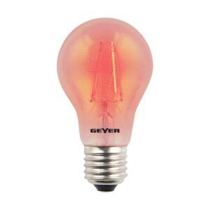 Λάμπα Led Color Filament Γλόμπος A60 με διάφανο γυαλί, E27, 4W, 60lm, Κόκκινο